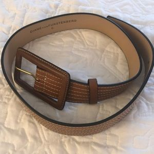 DVF brown leather belt